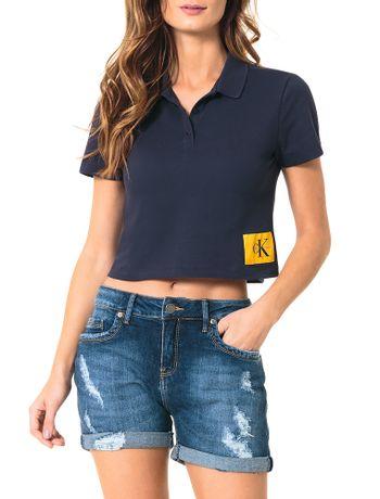 Polo-Calvin-Klein-Jeans-Com-Etiqueta-Na-Barra-Marinho