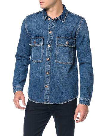 Camisa-Calvin-Klein-Jeans-Manga-Longa-Azul-Marinho