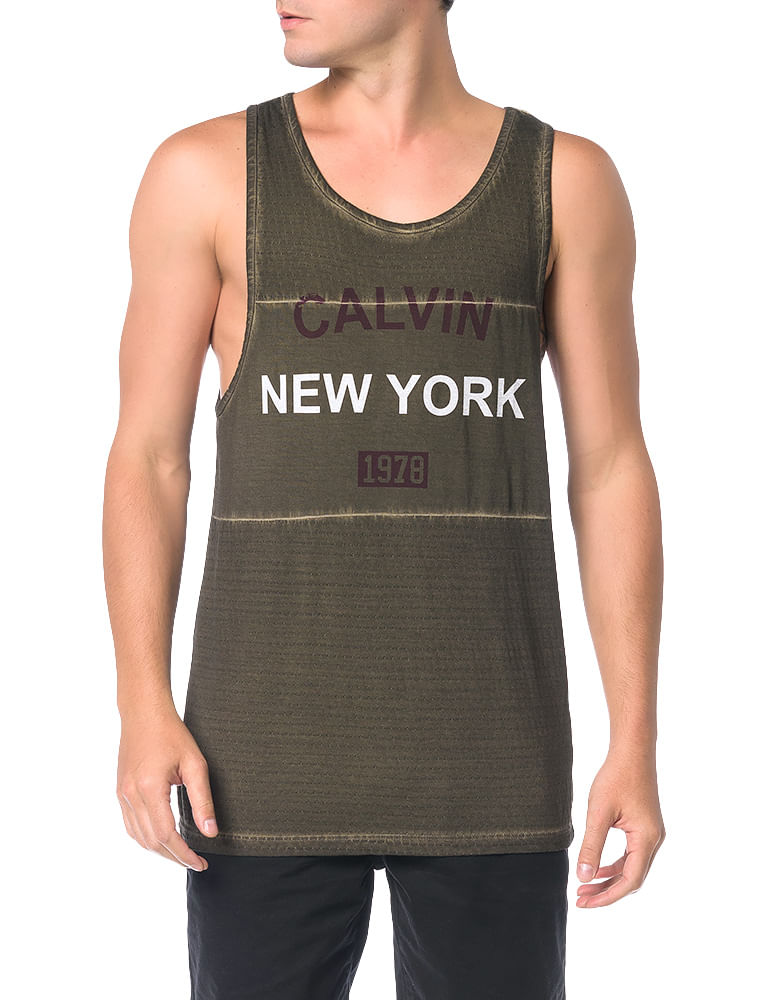 91fbc5aff7 Regata Calvin Klein Jeans Meia Malha Textura Militar - Calvin Klein
