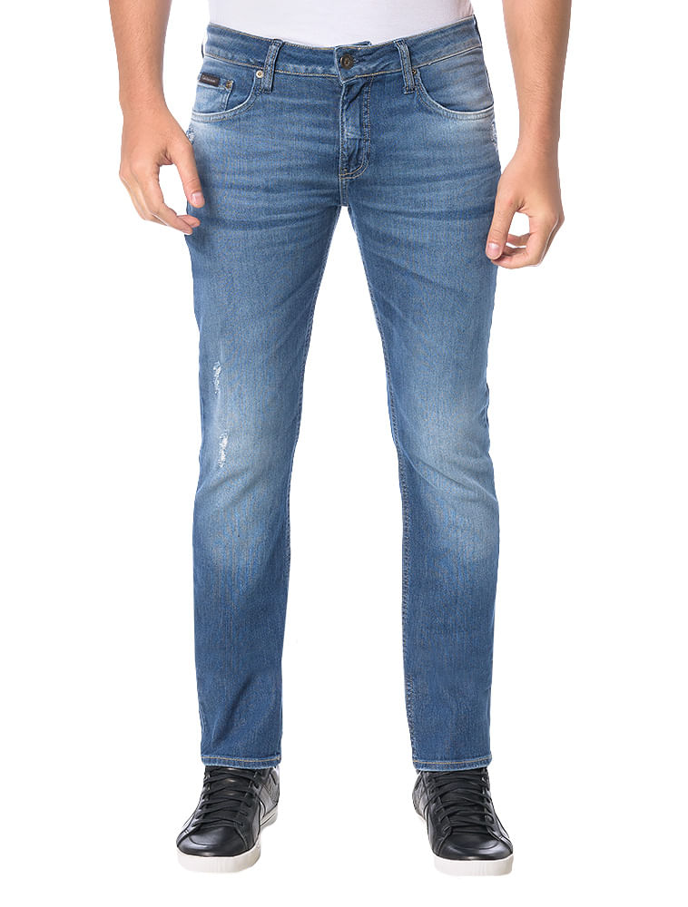 Calça Calvin Klein Jeans Five Pockets Slim Straight Azul Marinho ... c3dc9993c8