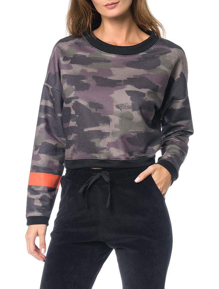 773313fe5bf87 Casaco Moletom Calvin Klein Jeans Estampa Camuflado Preto - Calvin Klein