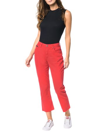 Calca-Color-Calvin-Klein-Jeans-5-Pckts-Straight-Sp-High-Vermelho