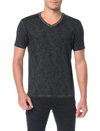 Camiseta-Calvin-Klein-Jeans-Estampa-Floral-Listrado-Preto