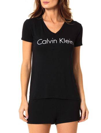 Pijama-Calvin-Klein-Underwear-Camiseta-e-Short-De-Visco-Preto