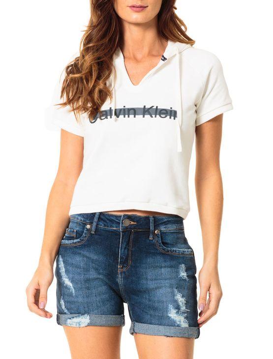 e2065589c99a6 Casaco De Moletom Calvin Klein Off White - Calvin Klein