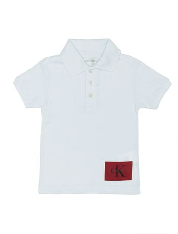 Polo-Infantil-Calvin-Klein-Jeans-Etiqueta-Logo-Branco