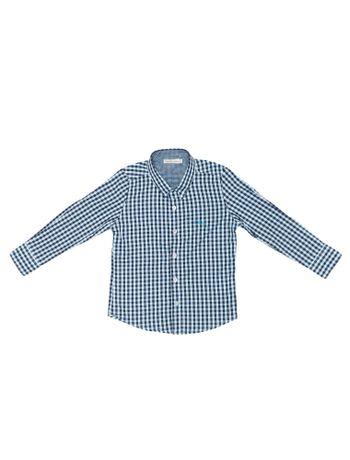 Camisa-Infantil-Calvin-Klein-Jeans-Xadrez-E-Logo-Bordado-Azul-Claro