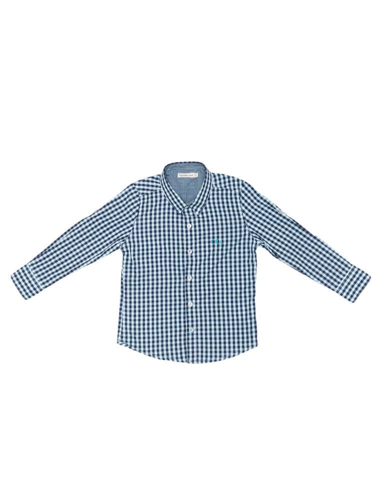40bbec9267 Camisa Infantil Calvin Klein Jeans Xadrez E Logo Bordado Azul Claro ...