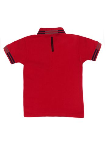 Polo-Infantil-Calvin-Klein-Jeans-Logo-E-Listras-Vermelho