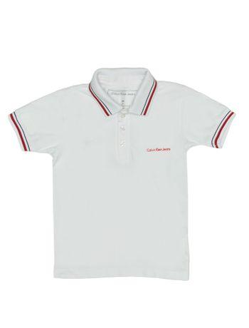 Polo-Infantil-Calvin-Klein-Jeans-Listras-E-Logo-Peito-Branco