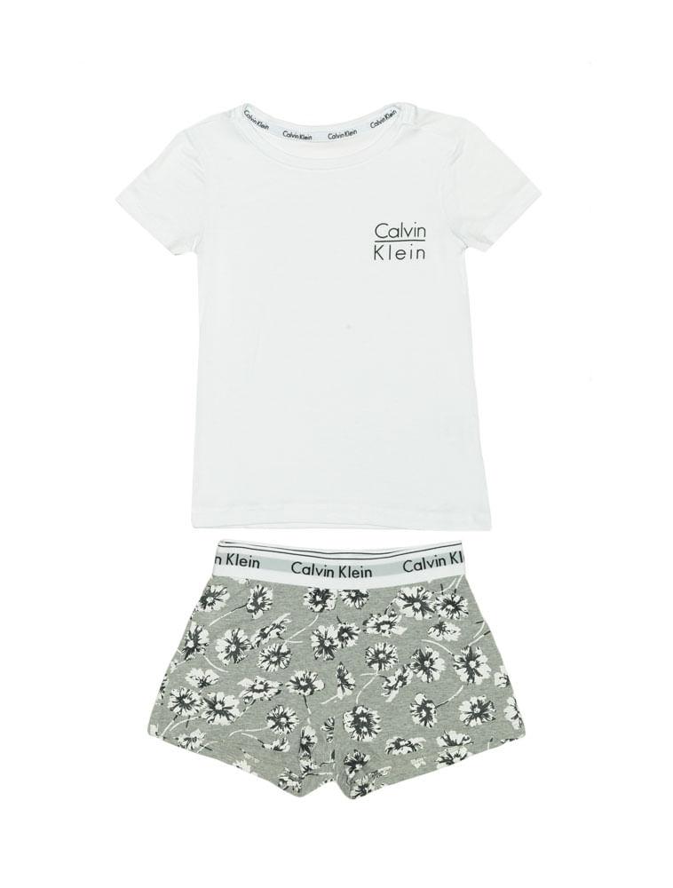 ab676501b Pijama-Calvin-Klein-Underwear-Camiseta-e-Short-Modern-Cotton-Floral-Mescla
