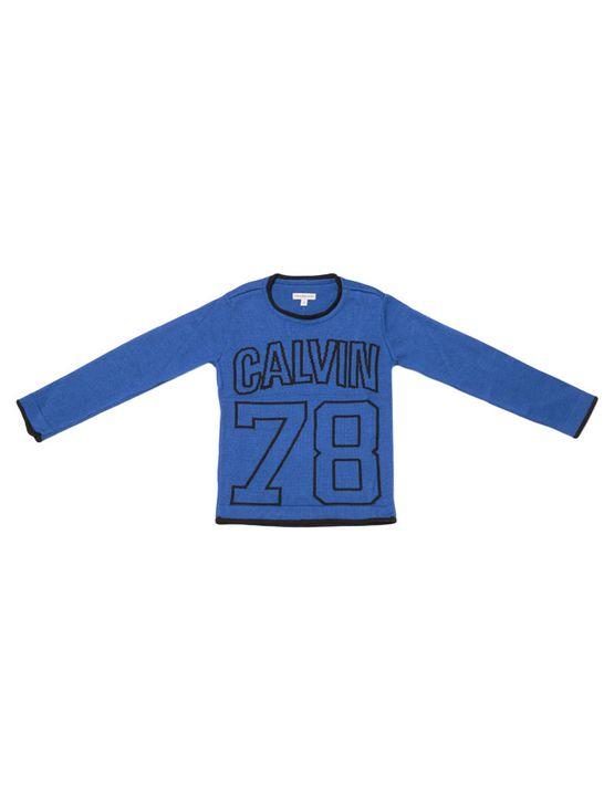 Sueter-Infantil-Calvin-Klein-Jeans-Logo-78-Jacquard-Frontal-Azul-Royal