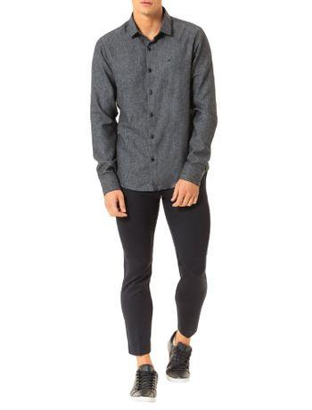 Camisa-Slim-Calvin-Klein-Punho-Chanfrado-Espinhada-Preto