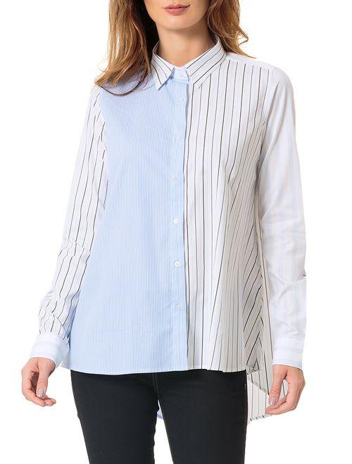Camisa Calvin Klein Listrada Exclusiva Azul Claro