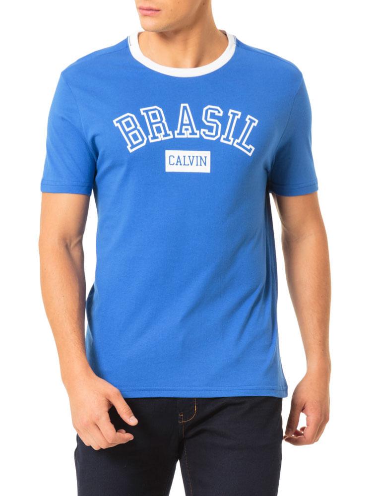 b362f59fc3 Camiseta-Calvin-Klein-Jeans-Estampa-Copa-Gola-Azul-Carbono. Loading zoom