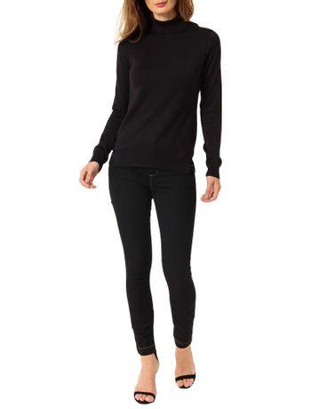 Tricot-Calvin-Klein-Jeans-Basico-Gola-Alta-Preto