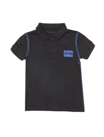 Polo-Infantil-Calvin-Klein-Jeans-Estampa-Logo-E-Costura-Contraste-Preto