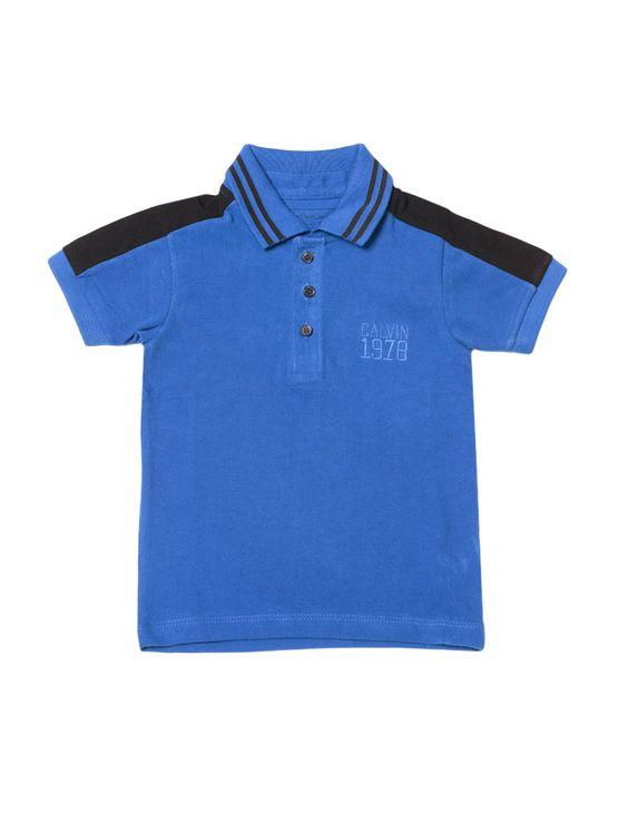 Polo-Infantil-Calvin-Klein-Jeans-Recorte-Ombro-E-Bordado-Azul-Carbono