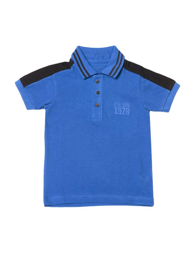 3b2f26cf07 Polo-Infantil-Calvin-Klein-Jeans-Recorte-Ombro-E-Bordado-Azul-Carbono