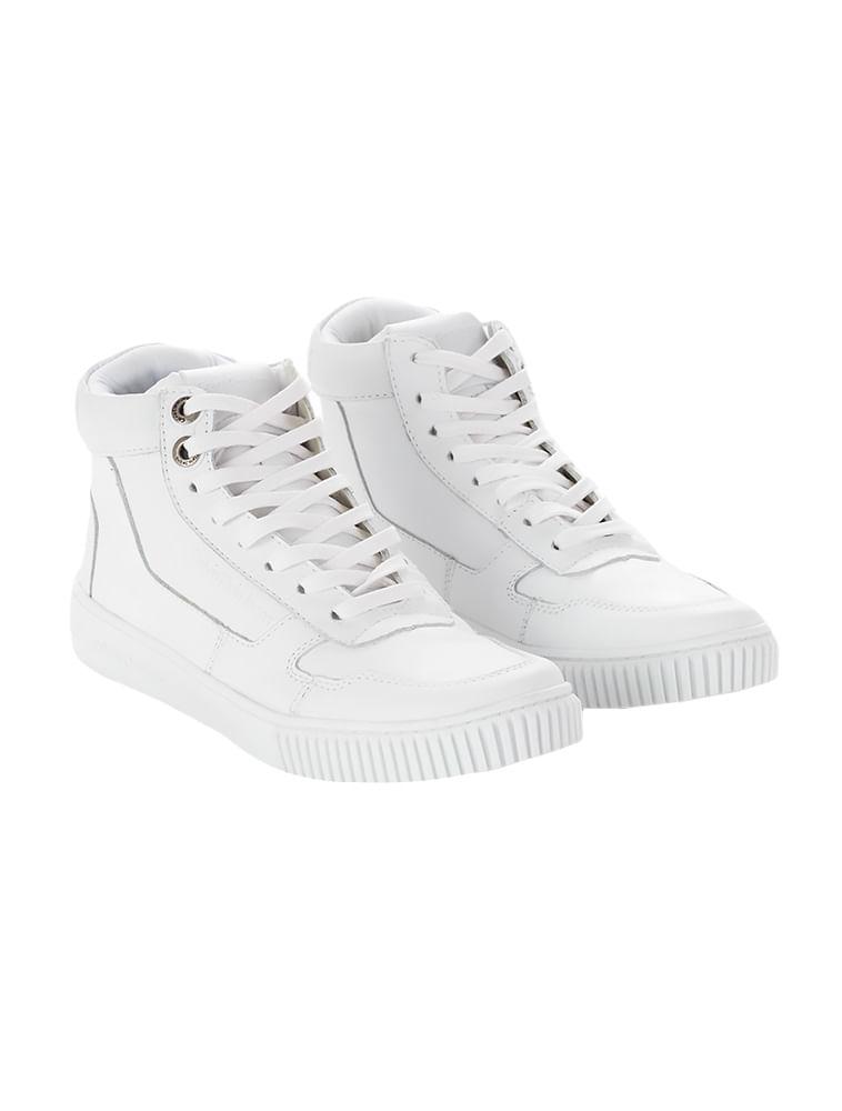 Tênis Calvin Klein Jeans Couro Cano Recortes Branco - Calvin Klein 4bd69a9469