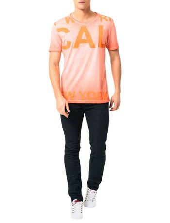 Camiseta-Calvin-Klein-Jeans-Estampa-Reticulada-Laranja