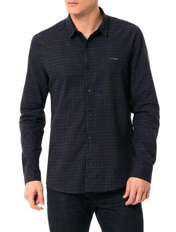 Camisa-Calvin-Klein-Jeans-Xadrez-Calvin-Cortado-Preto