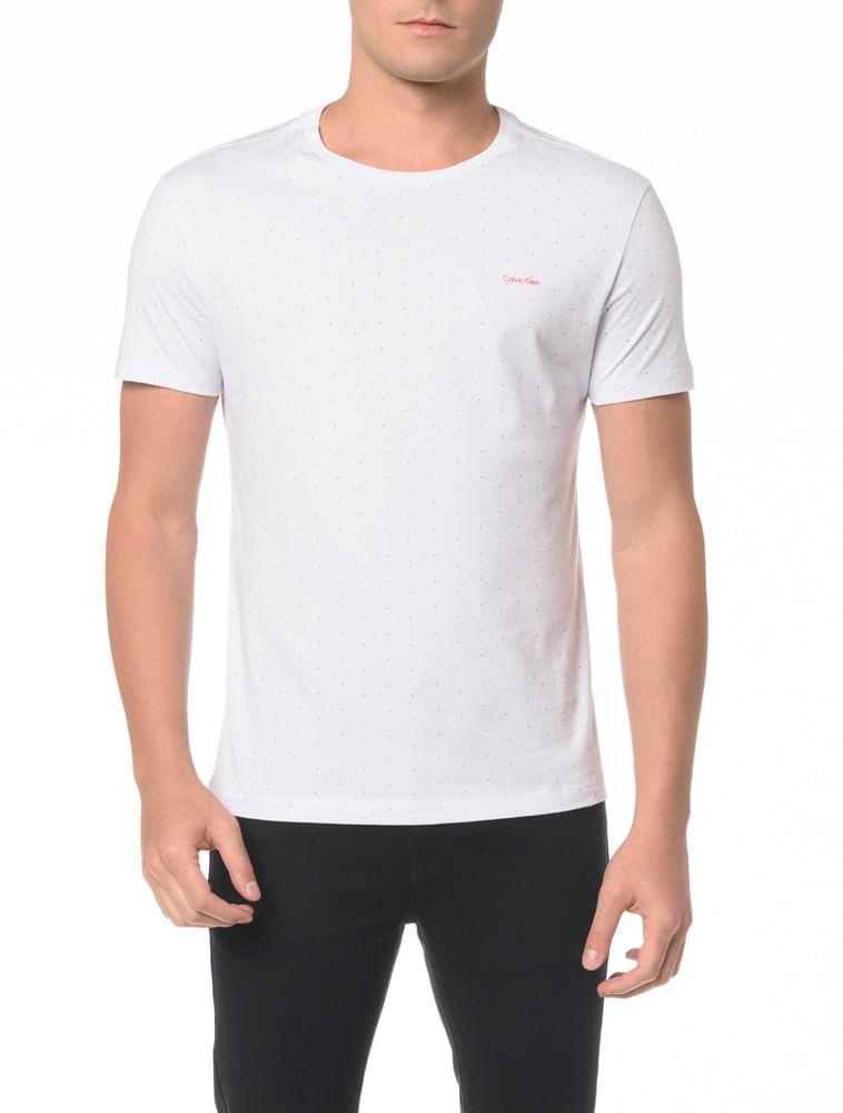 5e59c2f10bd15 Camiseta Básica Slim Micro Estampa - Calvin Klein