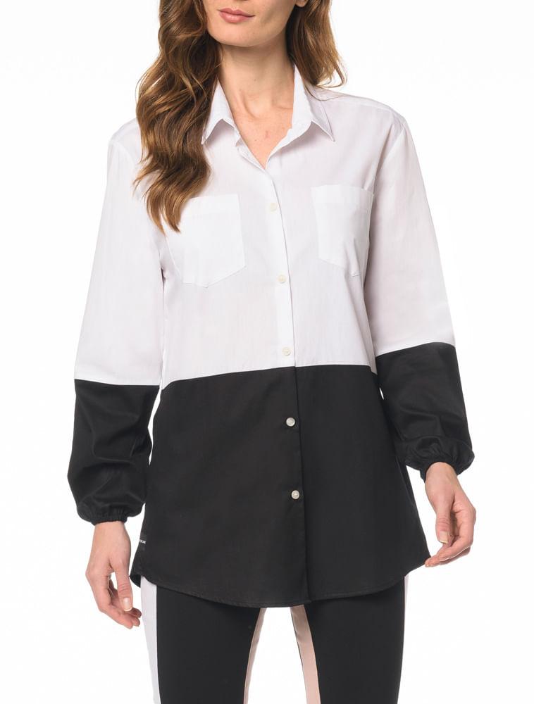 Camisa CKJ Fem ML Bicolor - Calvin Klein 5b717b153e