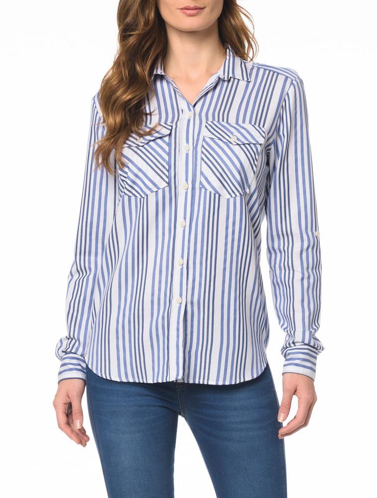 Camisa CKJ Fem ML Listrada - Calvin Klein 4260a8894c