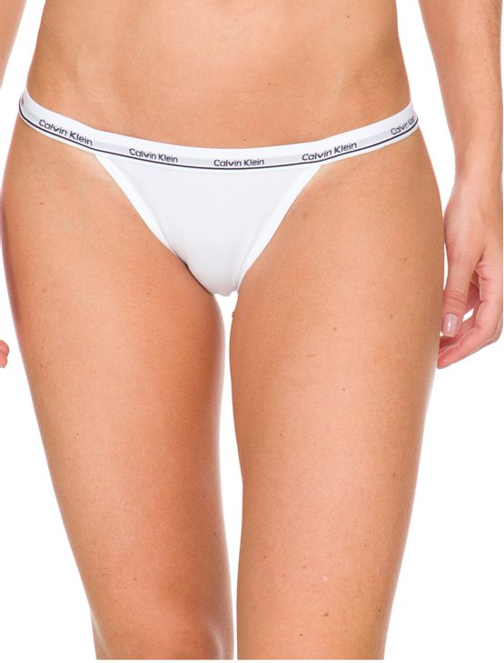Kit-2-Calcinhas-Tanga-String-Calvin-Klein-Underwear-Elastico-Logo-Preto---Branco---P