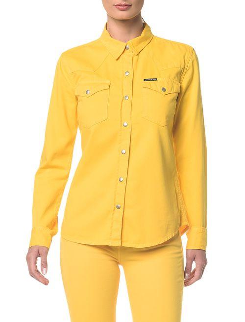 Camisa Color Manga Longa Amarela
