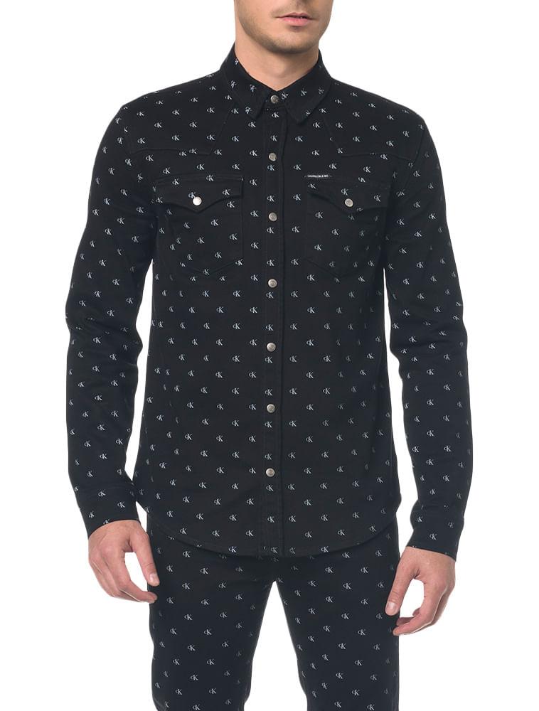 dd12580f9ab0ee Camisa Jeans Manga Longa - Preto