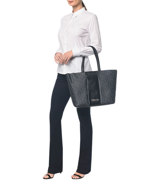 Shopping Bag Monograma Color Block Preto