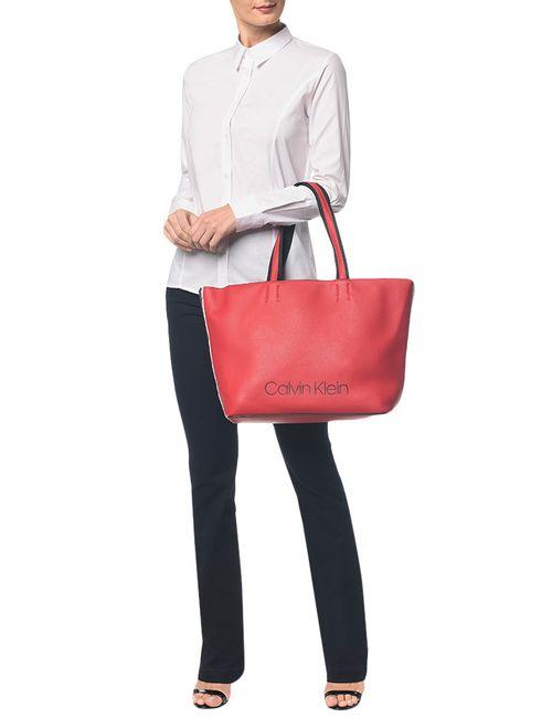Bolsa Calvin Klein Logo Em Relevo Vermelho