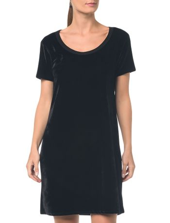 Camiseta T.Shirt Dress De Veludo Preto