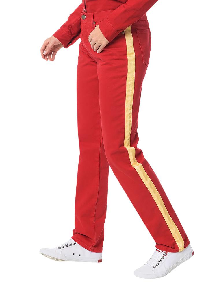 66baf1f1bd Calça Color Calvin Klein Jeans 5 Pckts Straight High Vermelho ...