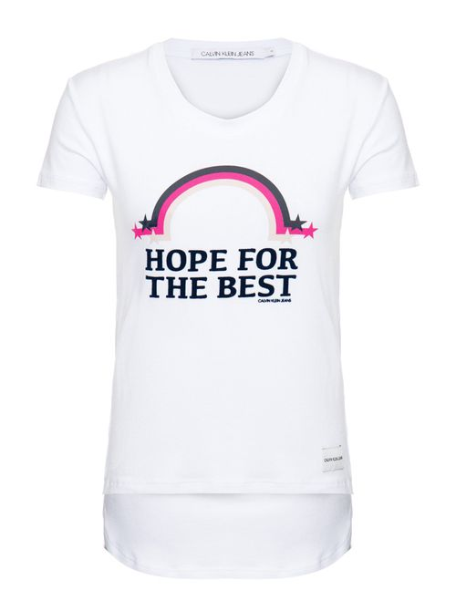 Blusa M/C Ckj Hope For The Best Branco 2