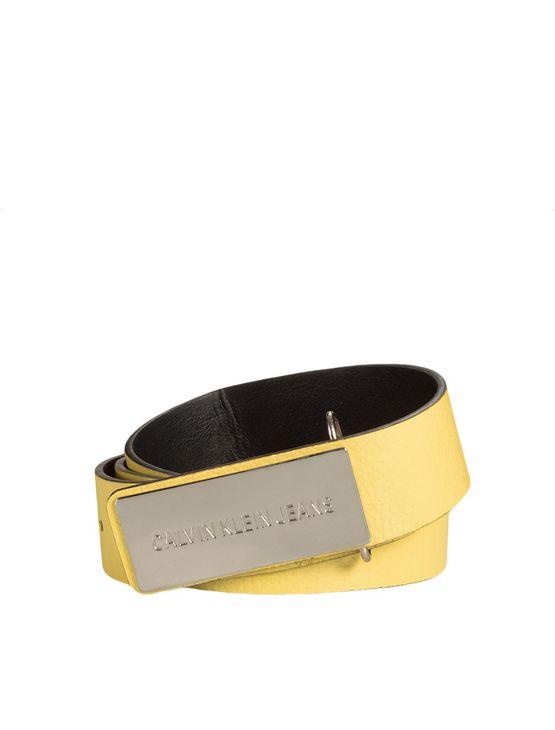 Cinto-Medio-Com-Fivela-Retangular-Ckj---Amarelo-Ouro---PP