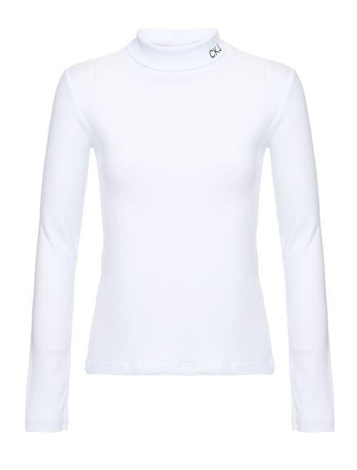 Blusa M/L Ckj Silk Logo Gola Alta Branco 2
