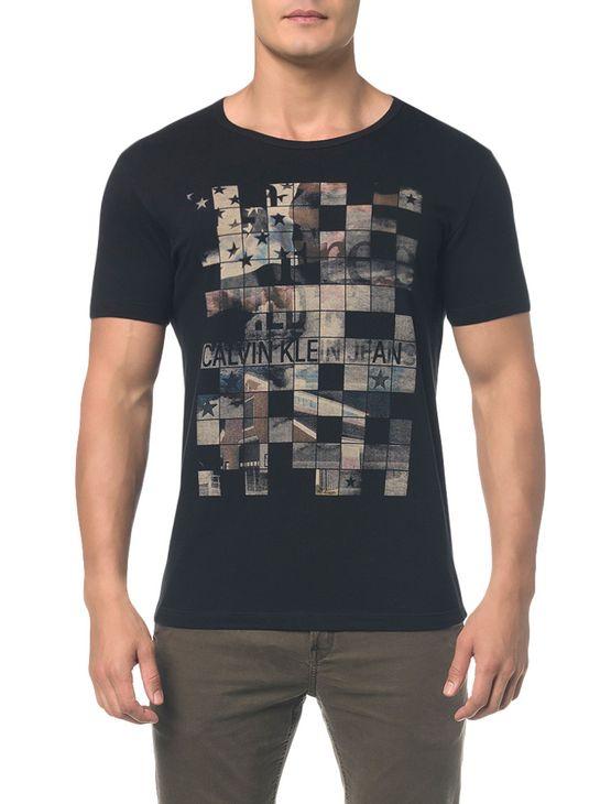 Camiseta-Ckj-Mc-Est-Band.-Quadriculada---Preto---PP