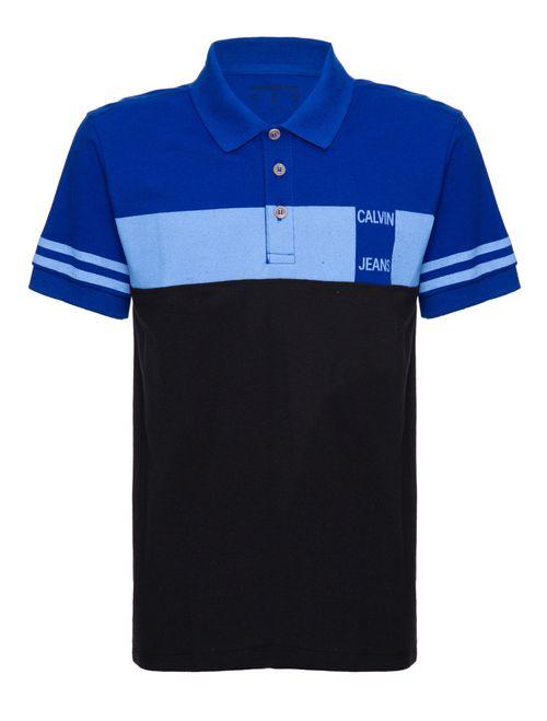 Polo Ckj Mc Faixa Peito - Azul Médio