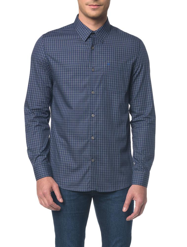 7dda55a77918be Camisa Regular Geneva Xadrez Exclusivo - Marinho