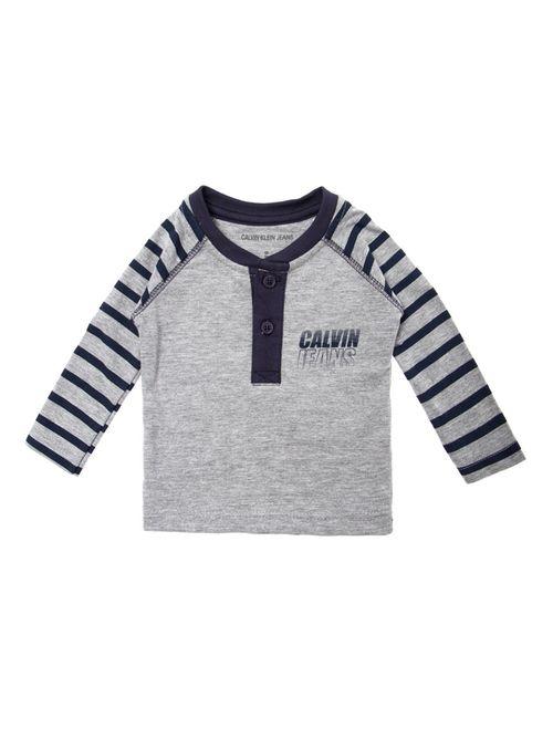 Blusa M/L Ckj Bebê Silk Calvin Jeans  - Mescla