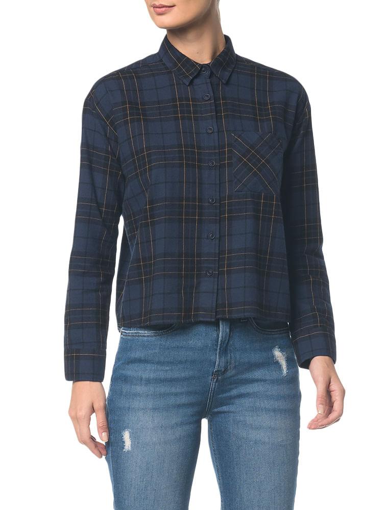 61394b0938 Calvin Klein · Feminino · Roupas · Camisas · Camisa-Ckj-Fem-Ml-Xadrez -Aberta-Costas----Marinho---36