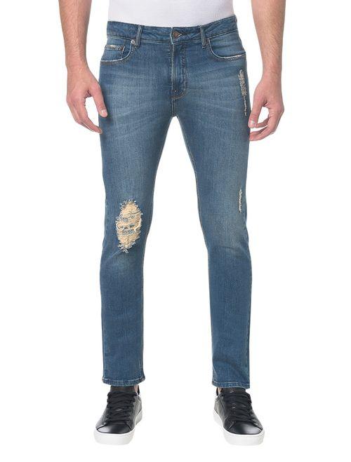 Calça Jeans Five Pocktes Slim Ckj 026 Slim - Azul Médio