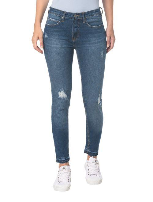Calça Jeans Five Pocktes Mid Rise Skinny Ckj 011 Mid Rise Skinny - Azul Médio