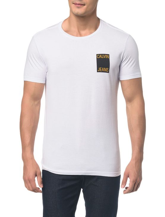 9ec7a29d8d83ed Camiseta Ckj Mc Est Calvin Jeans Peito - Branco 2