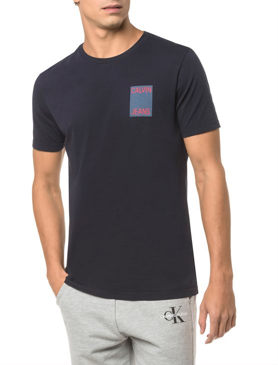Camiseta-Ckj-Mc-Est-Calvin-Jeans-Peito----Marinho---PP
