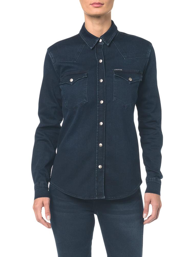 f88fd2a7ee Camisa Jeans Manga Longa - Marinho - Calvin Klein