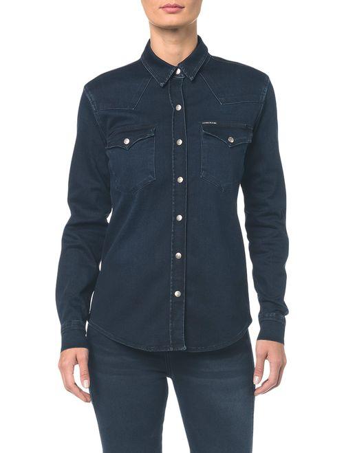 Camisa Jeans Manga Longa - Marinho
